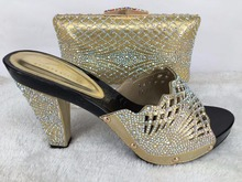 New coming ladies shoes and bags wedding shoes and bag to match italian shoes and bag set in gold
