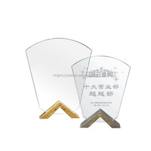 Sublimation acrylic shields awards plaque blanks with metal stands for promotion