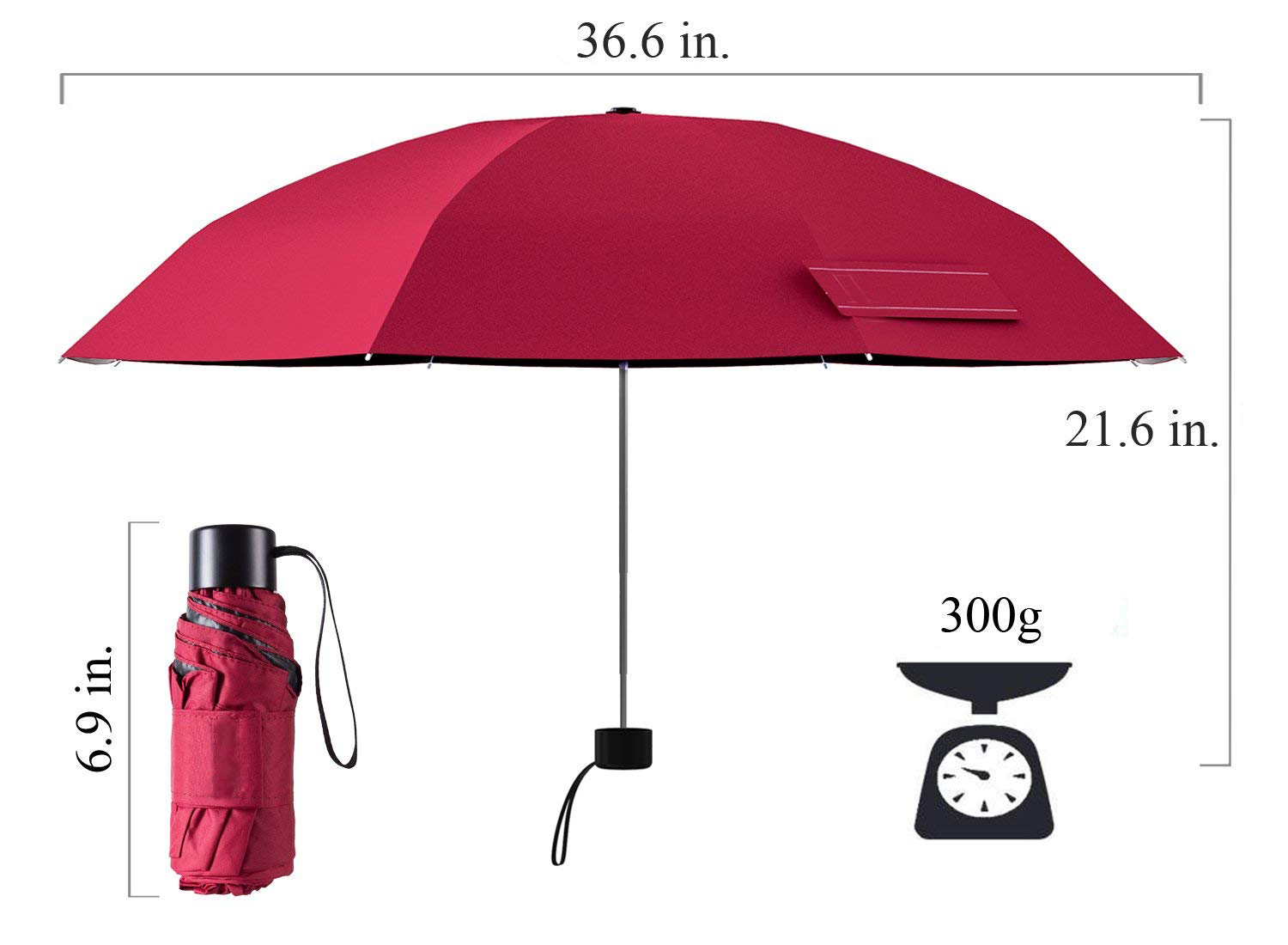 High Quality 19Inch 8Ribs Manual Open Portable 5 Folds Mini Umbrella with EVA Case