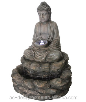 Polyresin Outdoor Fountain with LED Light, Buddha Head Fountain, Buddha Face Fountain