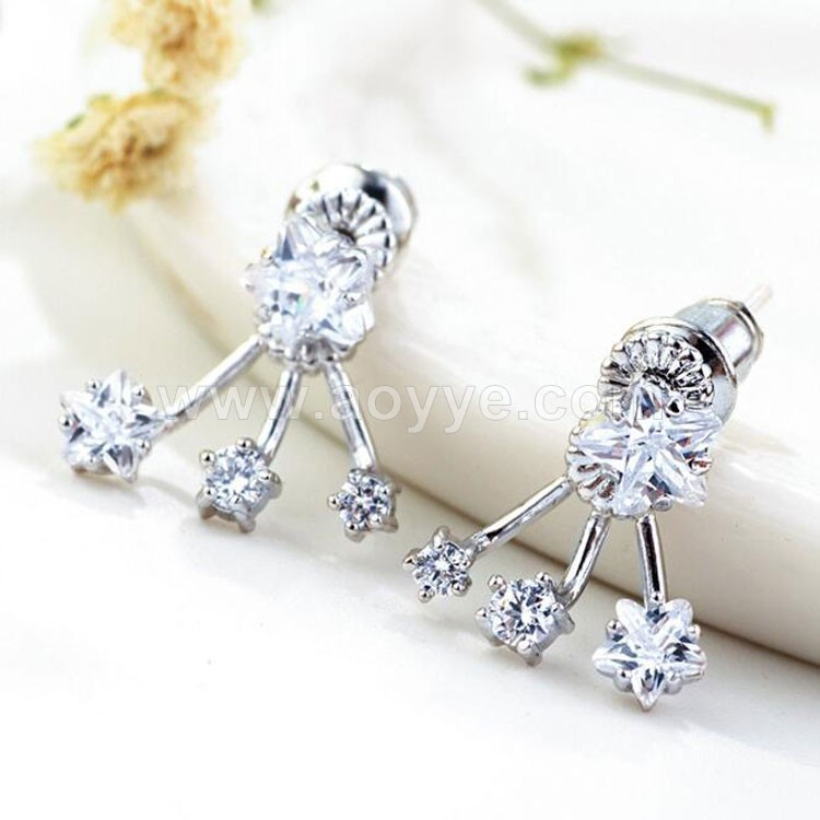 Fashion creative elegant women eardrop anti allergy star zircon platinum plating copper pentacle earring