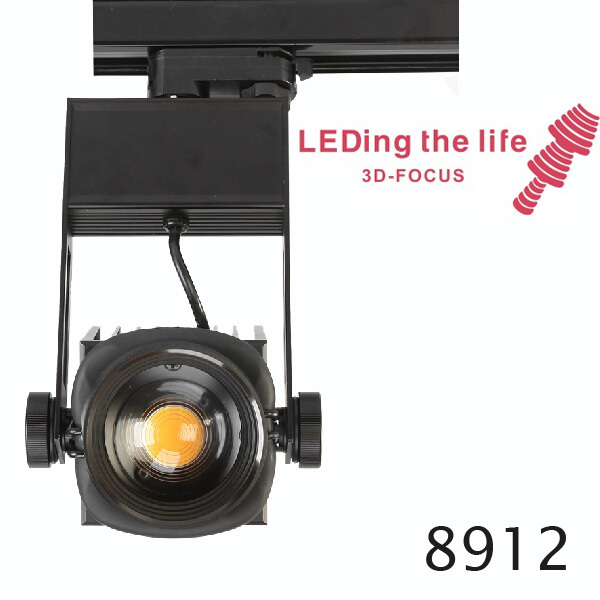 45w 3D focusable adjustable intensity led track spot light for museum art gallery lighting