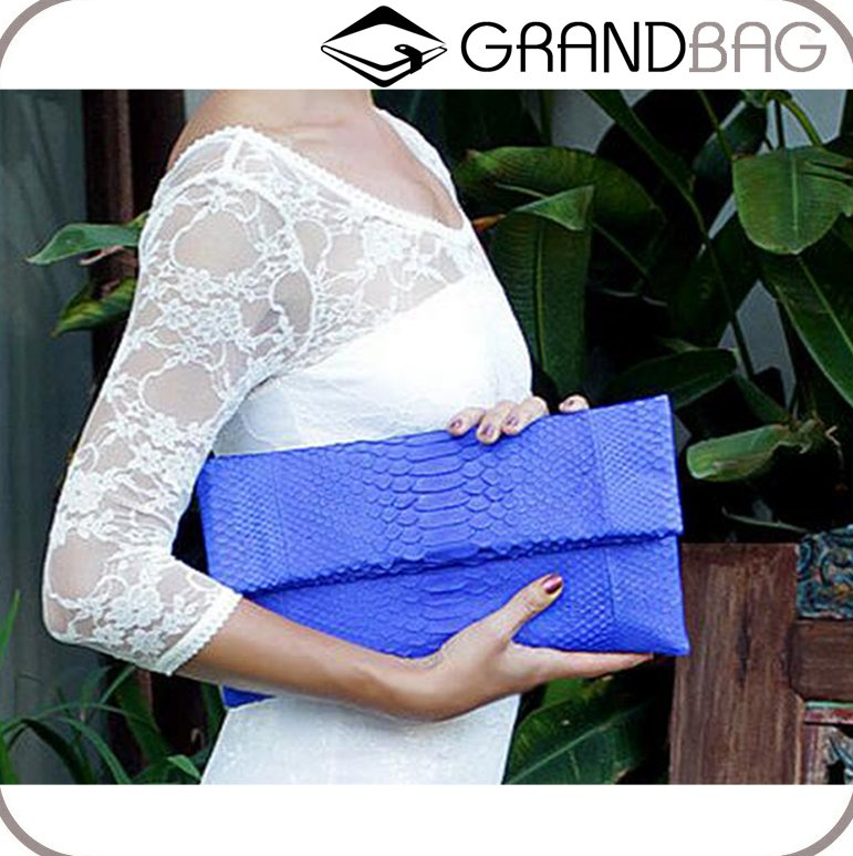 Luxury Handmade Genuine Python Leather Envelope Clutch for Lady Custom Women Evening Bag Hand Bags Wholesale