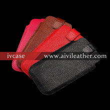 protective lychee pattern genuine leather case pouch for iphone 5 cover