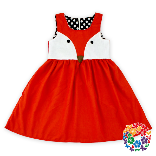 Cute Fox Pattern Children Frocks Designs Bay Girls Fashion Dress New Model Casual Dresses Wholesale
