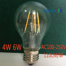 A60 60w Edison tungsten lamp replace 4w 6w led filament bulb dimmable