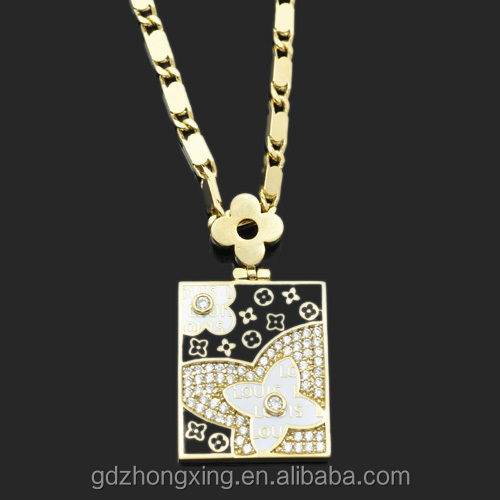 wholesale Fashionable CZ Micro pave filigree gold Square Necklace pendant for DIY Making WX7648