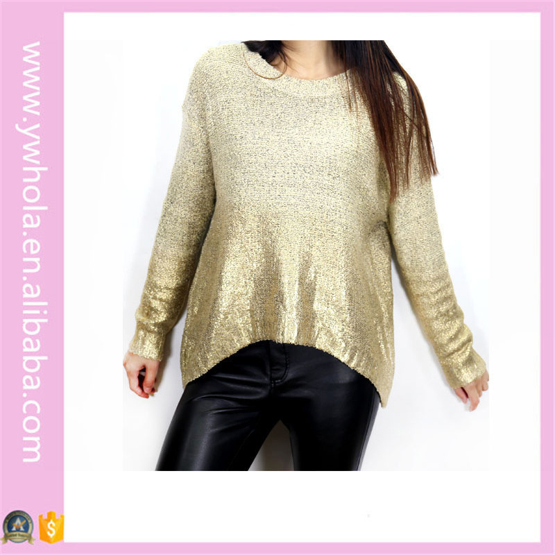 Latest Gradient Sequins Long Sleeve Knitted Sweater Designs for Women 2016