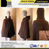 OM3244 3G Winter Poncho Knitted Plain Dyed Alpaca Cross Cable City Knit Cape