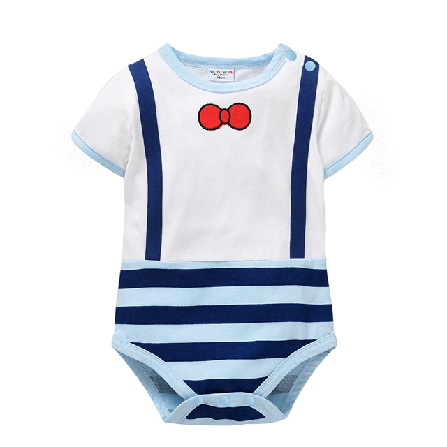 cheap babysuit 100% cotton baby clothes blue stripe Baby body suits