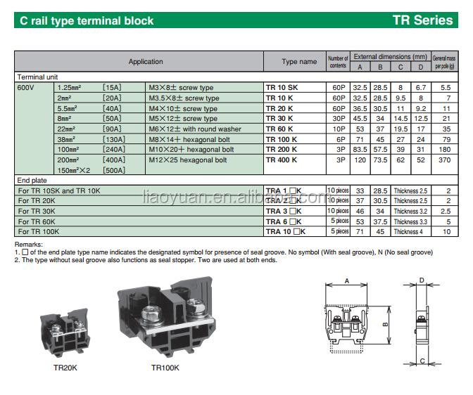 Tr20 30a 600v Max 2 5mm2 C Rail Type Terminal Block Buy