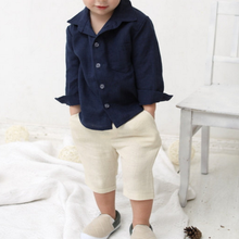Wholesale OEM Brand Long Sleeve New Style Fashion Baby solid Boy's Linen Shirts