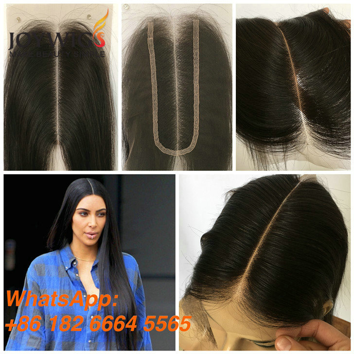 "Cheap stock 2""X6"" kim k closure human hair closure wide middle part slim closure for black women"