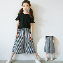 KS30398c korean style big girls striped trousers fashion kids casual wide leg pants