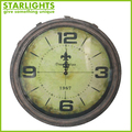 green roman numeral vintage style antique metal art wall clock