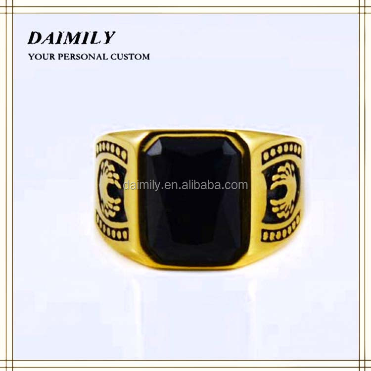 New Products 2015 Black Onxy Gemstone Rings Stainless Steel Jewelry fashion finger Ring