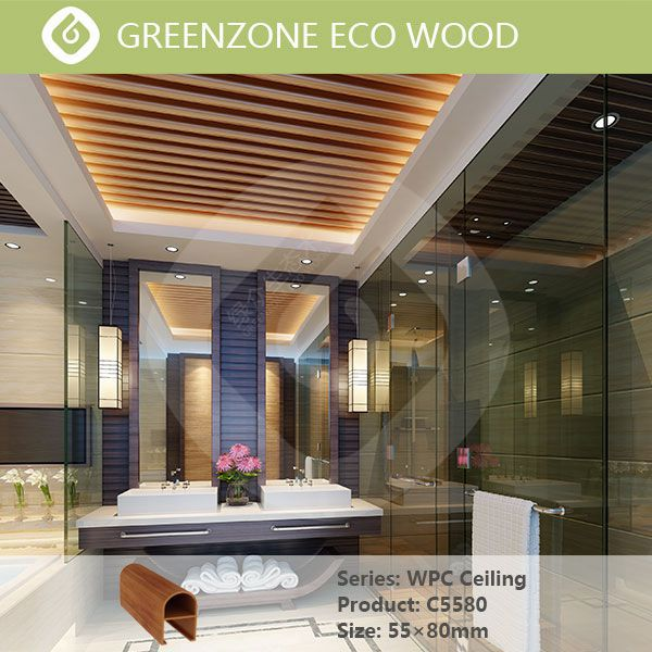 Special design wpc wooden composite material rot proof plastic ceiling design for shops