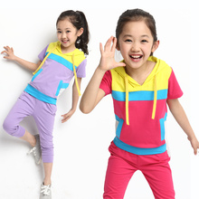 2014 Summer Korean children's clothes suits subsection big boy short-sleeved summer spell color new quality women's clothes