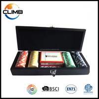 100pcs High Gloss Black Wooden Case poker chips set With Key