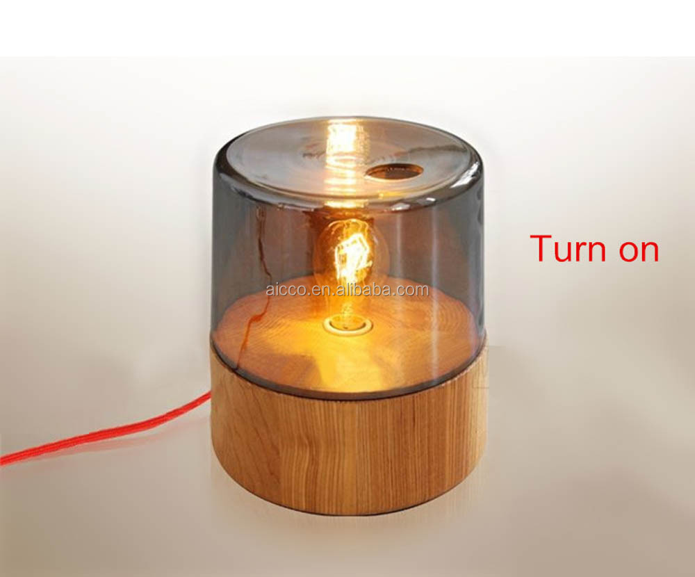 china supplier new product wood and glass and edison light bulb table lamp