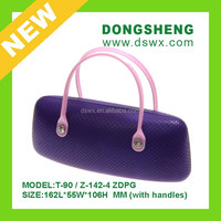 2015china products new plastichandle pure color PU leather handle case eyeglasses case&bags wuxi dongsheng