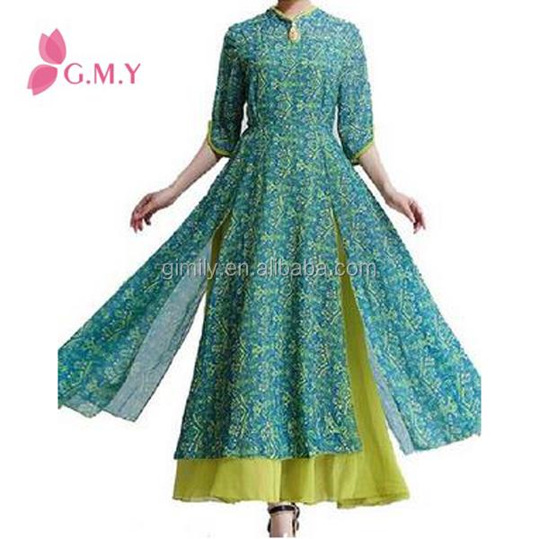 Ethnic Clothing Women's Vintage Slim Color Block long sleeve maxi dresses turkey