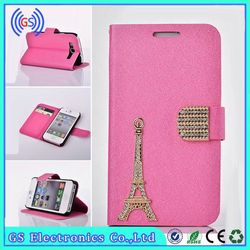 2015 New Bling Eiffel Tower For LG G2 Leather Case,Factory Price