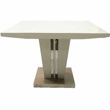 Rectangle Tempered Glass Dining table with stainless Metal Legs stainless steel table