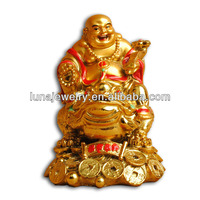 Fengshui Chinese Laughing Buddha,24k golden painting buddha statue