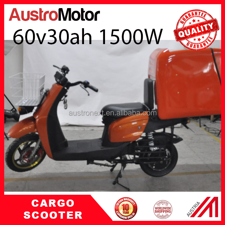 cargo electric scooter with insulated fiberglass box 60v30ah 1500W food delivery scooter food delivery motorcycle