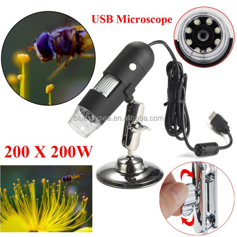 200X Digital LED USB Microscope 2MP PC Camera Video Zoom Magnifier +Base Mount