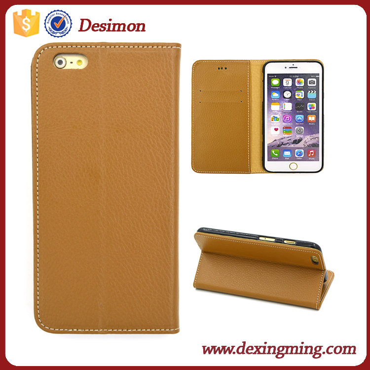 Ultra thin lychee grain flip leather case cover for Apple iPhone 6s plus new products 2017