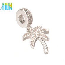 ECO-Friendly Cubic Zirconia Coconut Tree Micro Pave Charm Pendant for DIY , ICPS017 , 28.1*12.4 mm