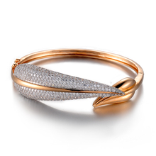 Fashion luxurious jewelry 18k rose gold shiny snake shape plain bracelet bangle