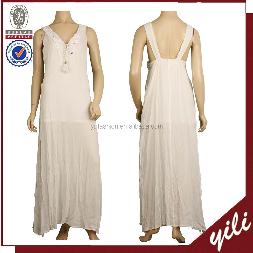 2016 White color rayon cotton fashion party wear ladies maxis dress