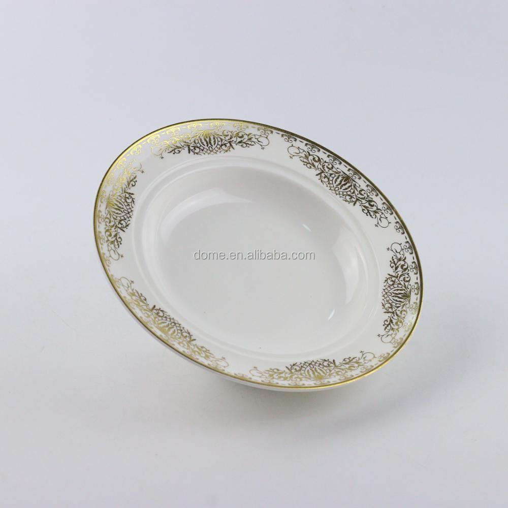 Rounded rose theme series ceramic dinner plate with lid