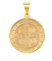 Hollow Round St. Saint Benedict Medal Pendant 14K Gold Yellow