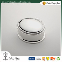 Wholesales Custom made Oval Embossed Metal Trinket box for decoration