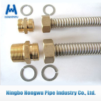 Stainless steel corrugated flexible plumbing metalic hose with brass ending