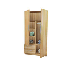 Modern Wood 2 Louvered Doors Wardrobe with Storage Drawers