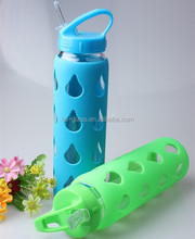 Hot sale! promotional gift water bottle plant brand names 24OZ hand made empty glass sport water bottle with sleeve