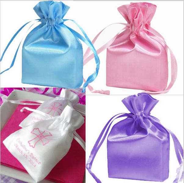 Resuable luxury silk small bag satin small organza bag with logo printing