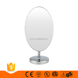Cheap simple decorative table glass and metal oval stand vanity makeup mirror