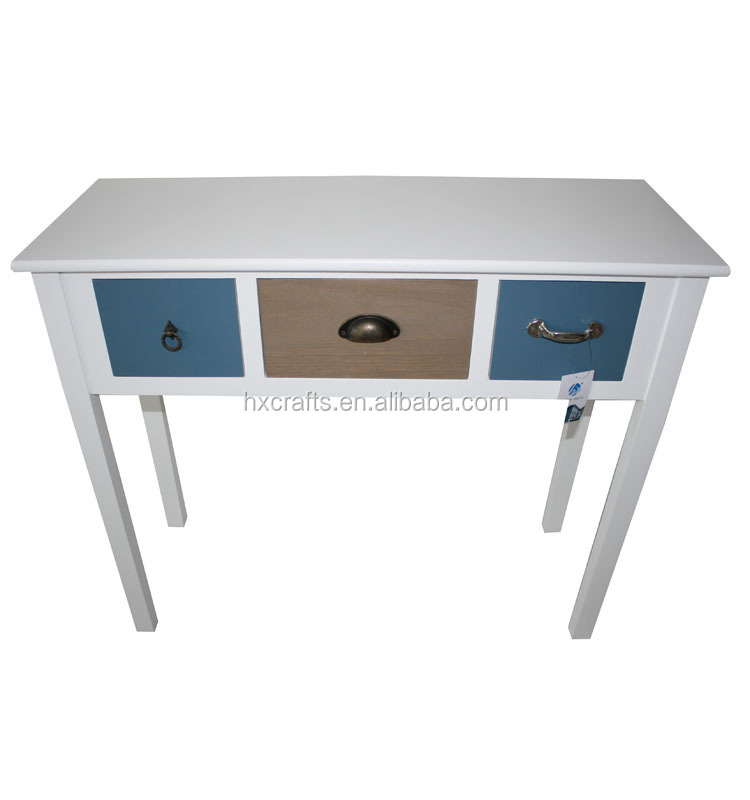 Heze vintage wood console tables with 3 colorful drawers
