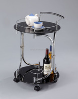 Mobile glass table trolley cart