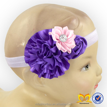 Triple Shabby Ribbon Flower With Rhinestone Baby Headbands Infant Girls Flower Hairband Satin Ribbon Handmade Flowers Headband