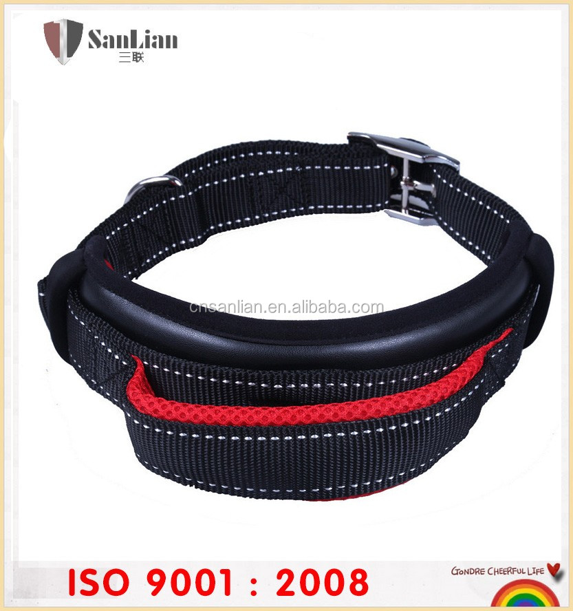Comfortable Padded Pet collar with Leather or nylon for dog trainning led dog collar