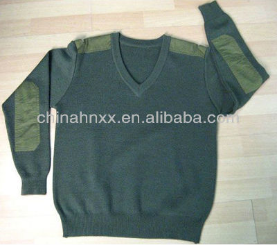 men's military olive green pullover V neck combat sweater