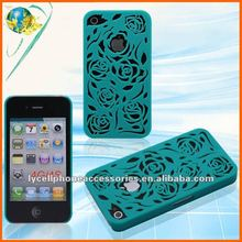 2012 NEW! Hollow out Rose back cover For Iphone 4G 4S accept paypal mobile phone case