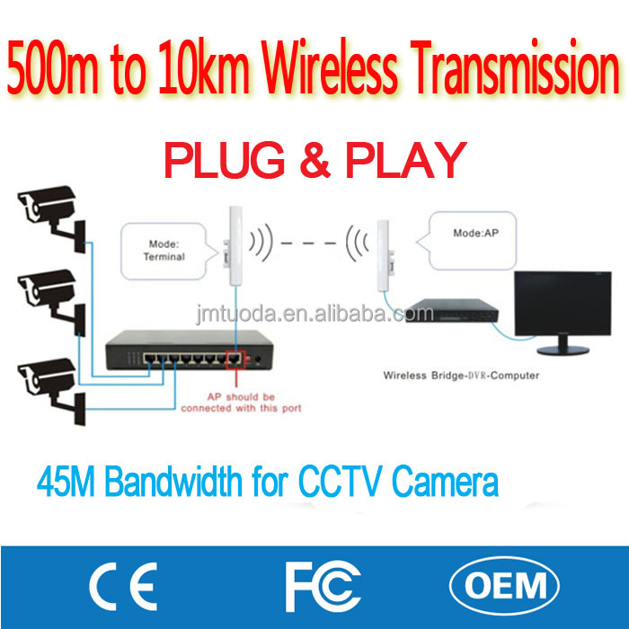 Factory Made 5KM Wireless Transceiver for HD IP Camera CCTV Video Wifi PTZ Bullet Security System